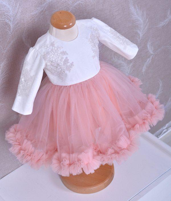 rochita de botez tull roz dantela