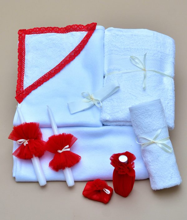 Trusou de botez biserica rosu alb