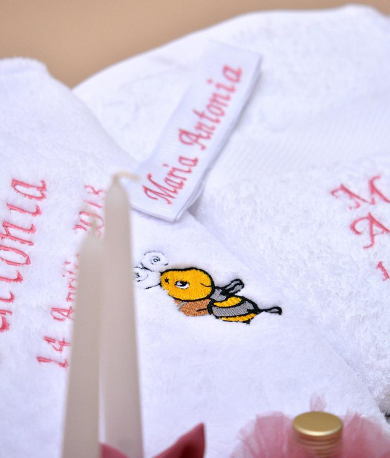 trusou botez personalizat albinuta detaliu