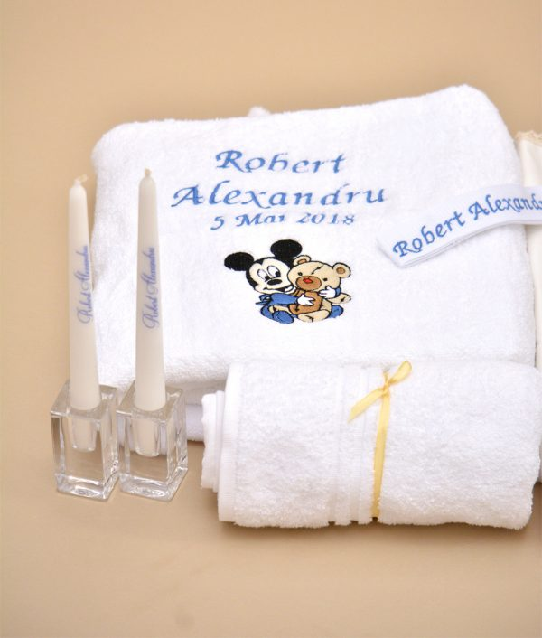 trusou de botez personalizat mickey bebelus